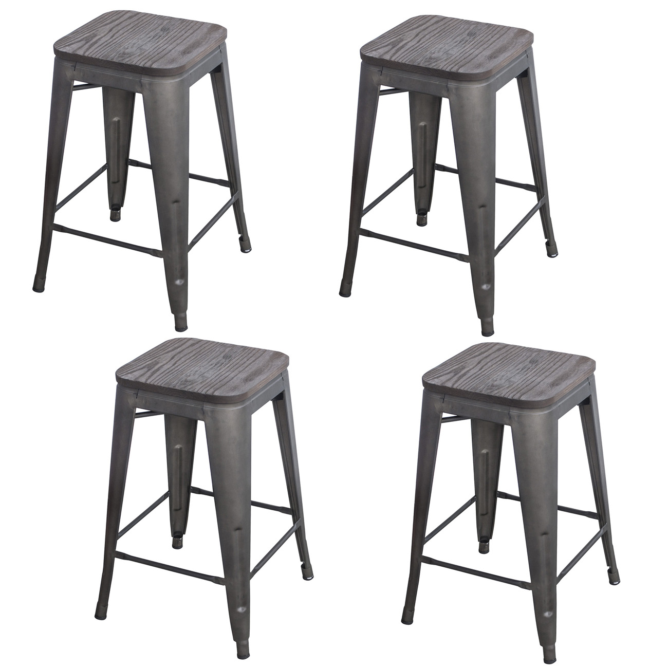 Black 24 in. Metal Bar Stool with Wood Seat- 4 Piece