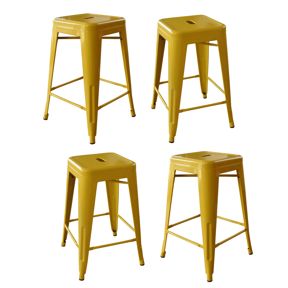 AmeriHome Loft Gold 24 Inch Metal Bar Stool - 4 Piece