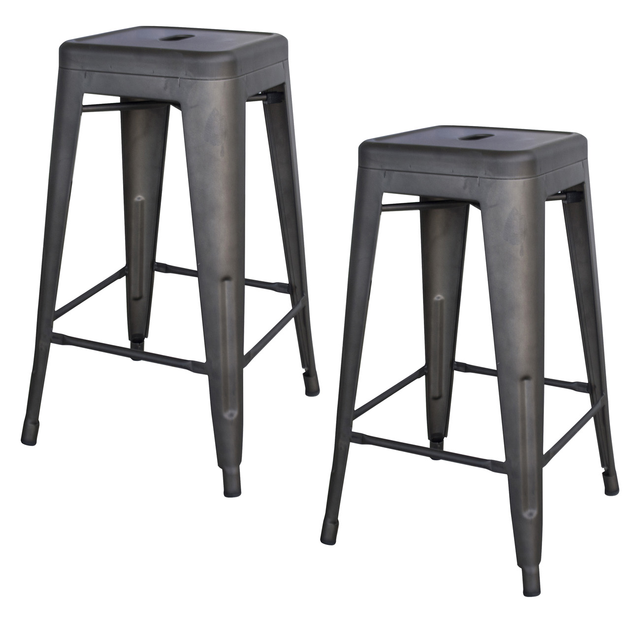 Rustic Gunmetal 24 in. Metal Bar Stool - 2 Piece
