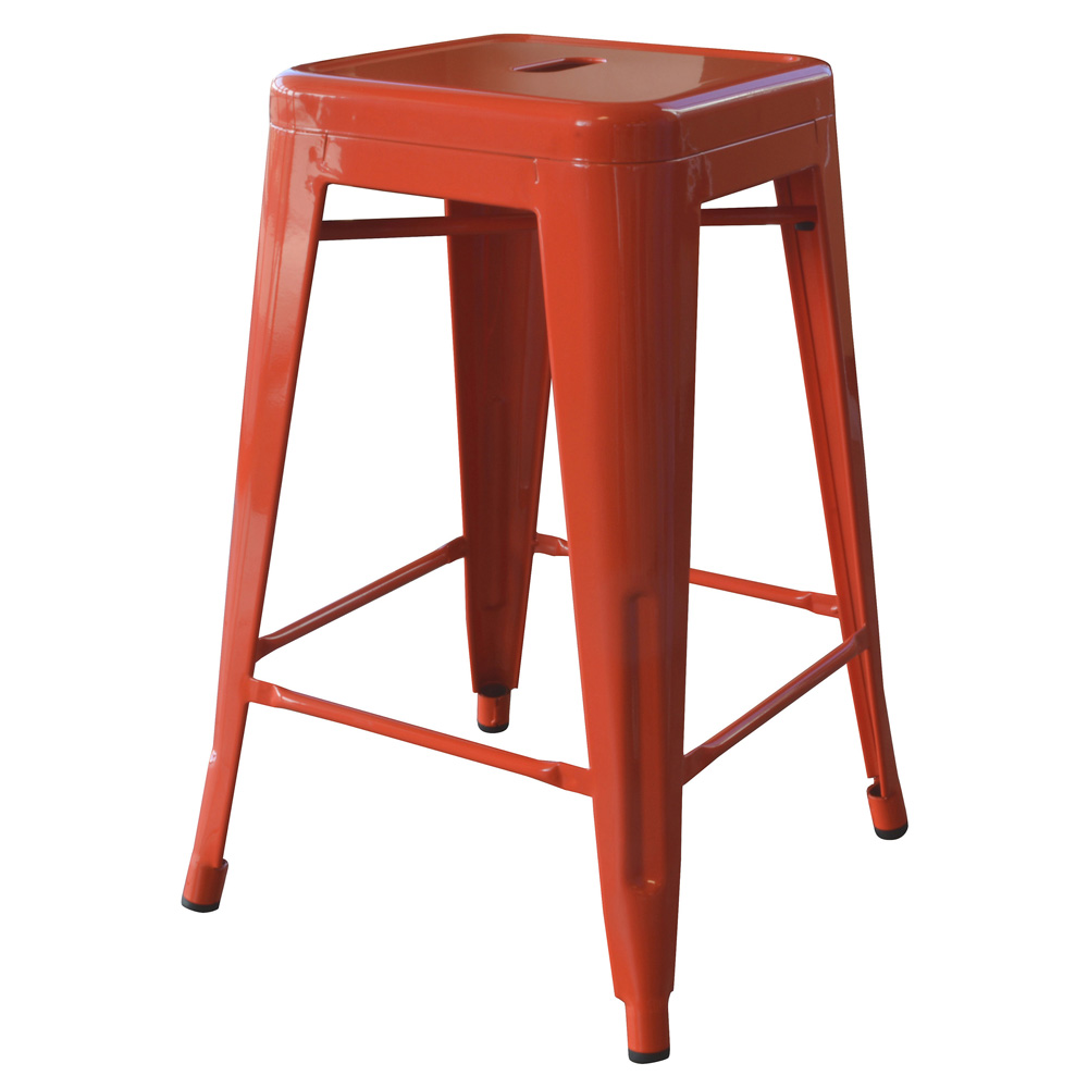 AmeriHome Loft Orange 24 Inch Metal Bar Stool