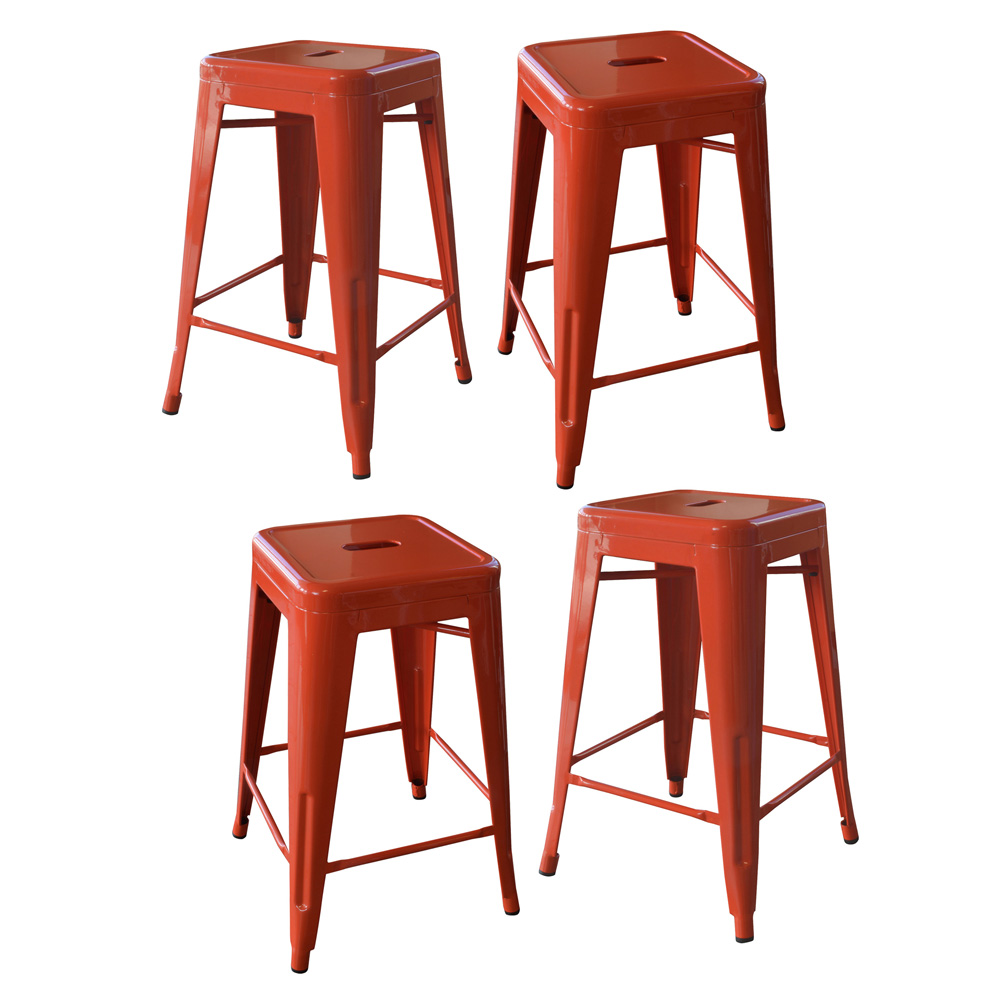 AmeriHome Loft Orange 24 Inch Metal Bar Stool - 4 Piece