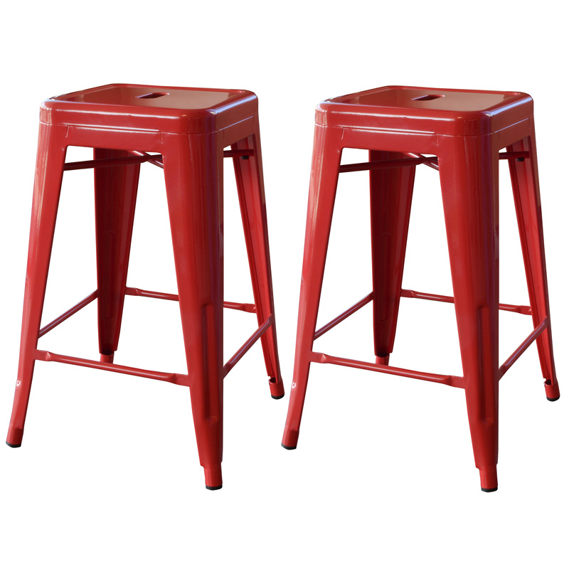 "AmeriHome 24"" Metal Bar Stool, Set of 2, Red"