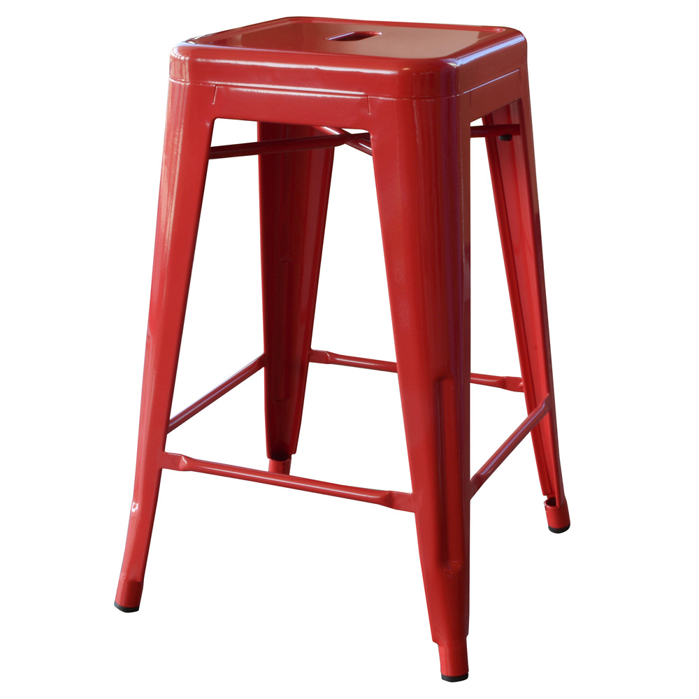 AmeriHome Loft Red 24 Inch Metal Bar Stool