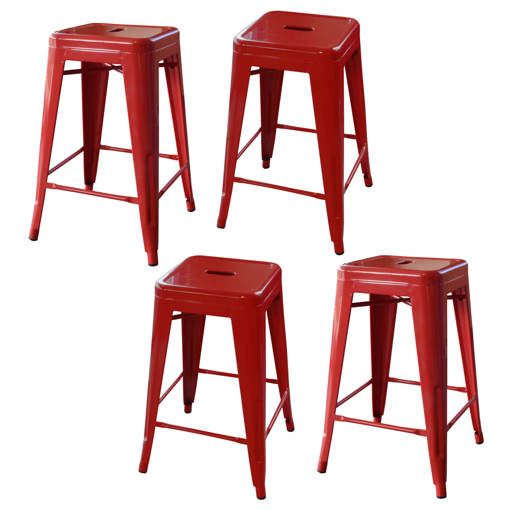 AmeriHome Loft Red 24 Inch Metal Bar Stool - 4 Piece