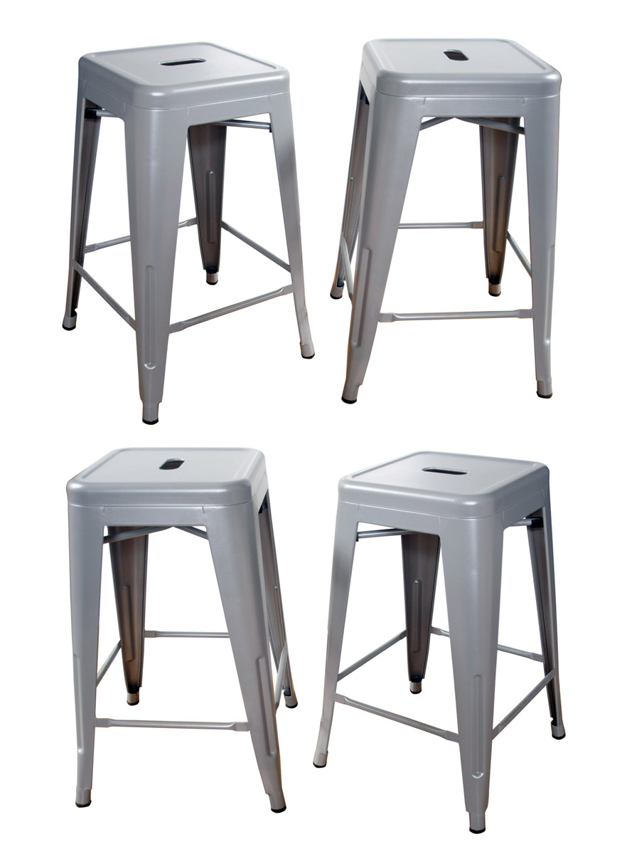 AmeriHome Loft Silver 24 Inch Metal Bar Stool - 4 Piece