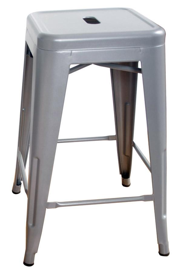 AmeriHome Loft Silver 24 Inch Metal Bar Stool