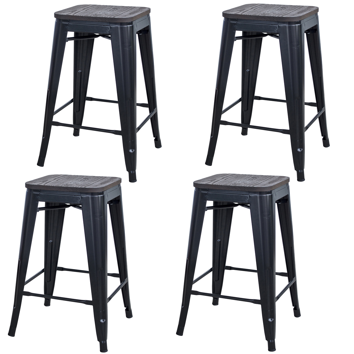 Rustic Gunmetal 24 in. Metal Bar Stool with Wood Seat- 4 Piece