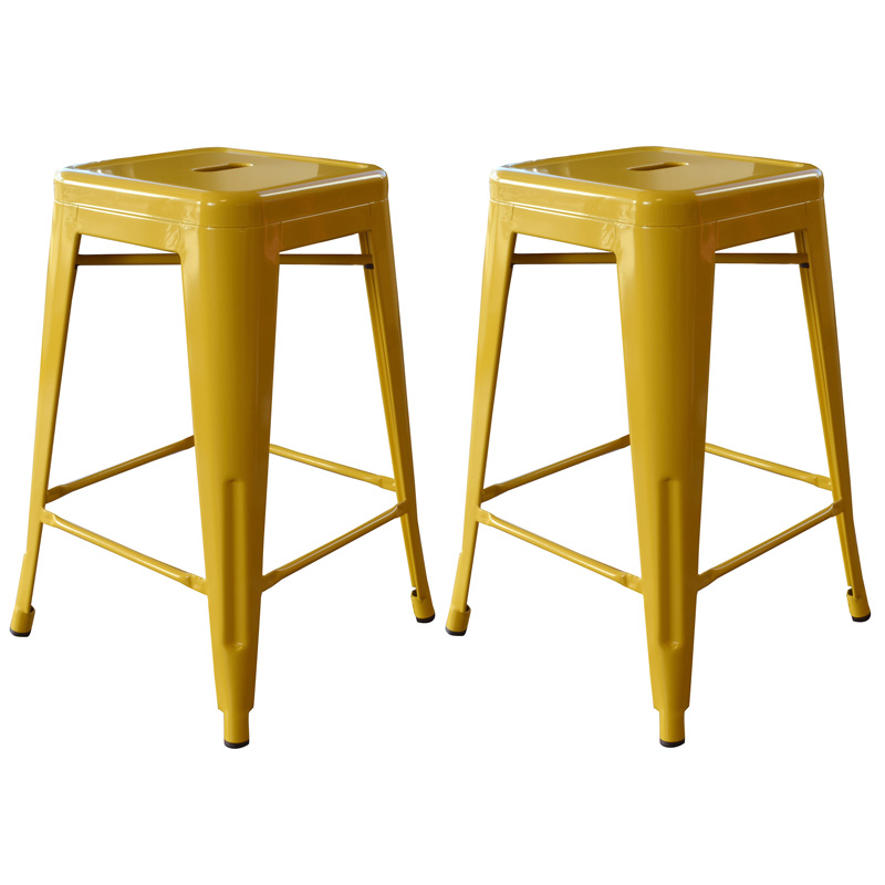 "AmeriHome 24"" Metal Bar Stool, Set of 2, Gold"