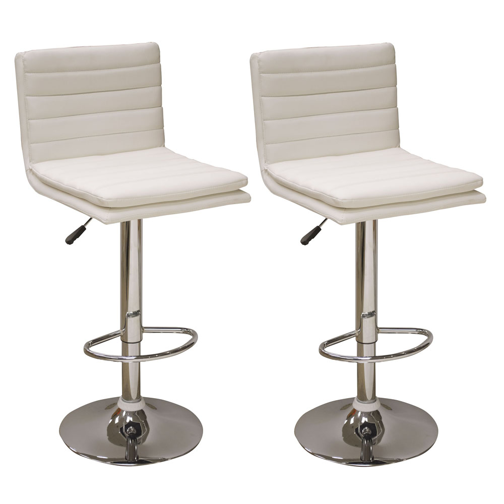 AmeriHome Modern Ripple Back Bar Stool - 2 Piece White