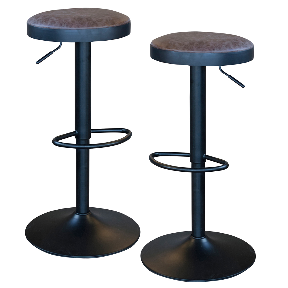 Classic Brown Faux Leather Bar Stool Set