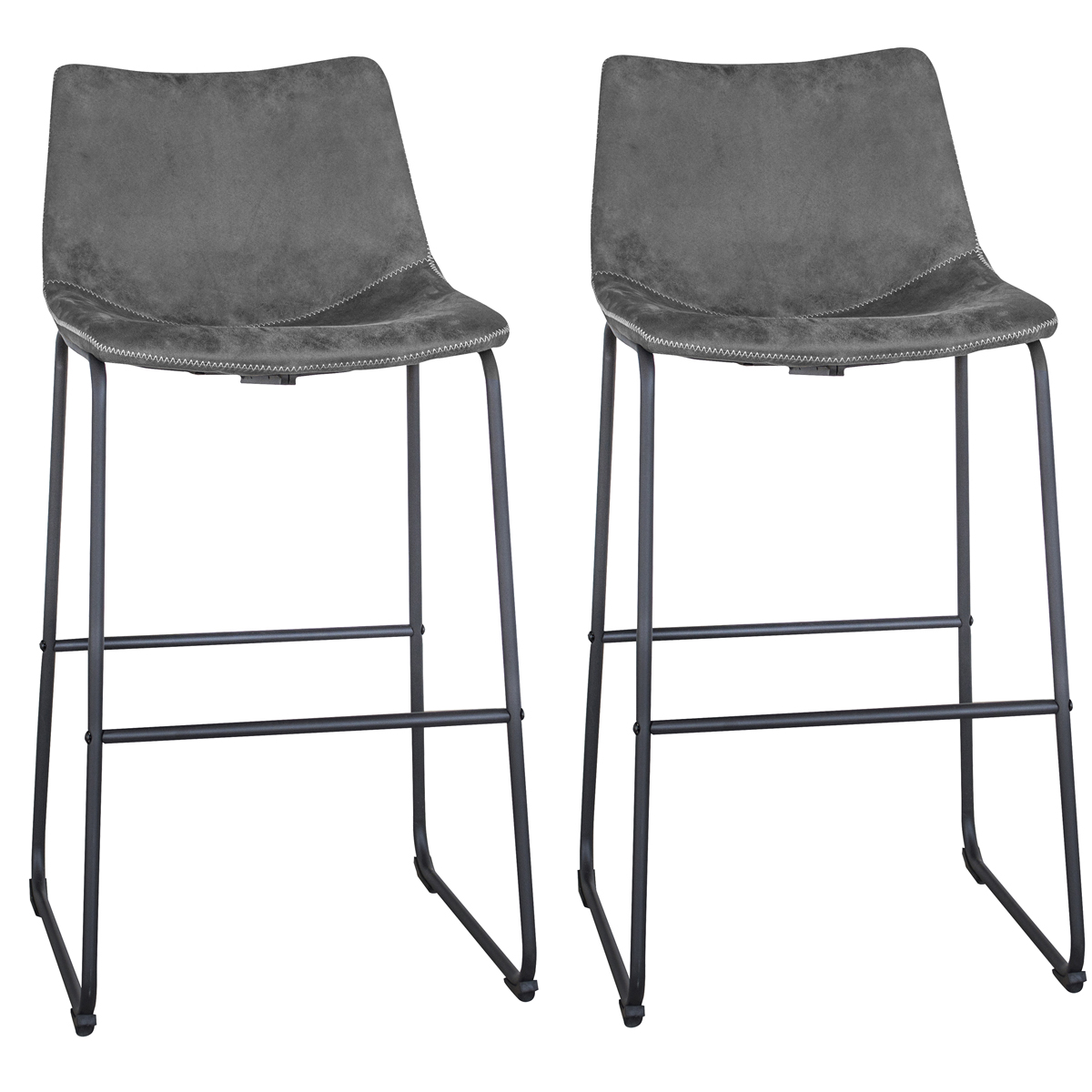 Classic Gray Faux Leather Bar Chair Set