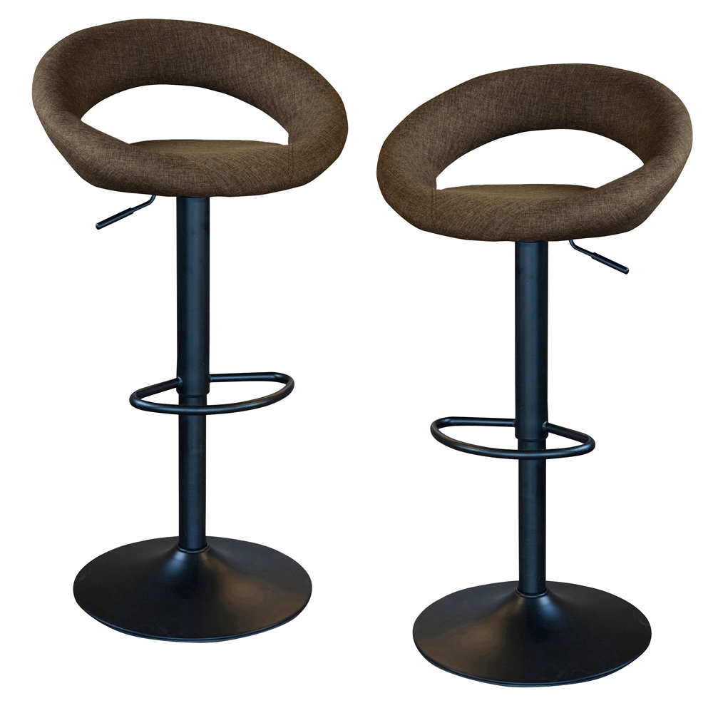 Classic Relaxed Charcoal Gray Fabric Bar Stool Set