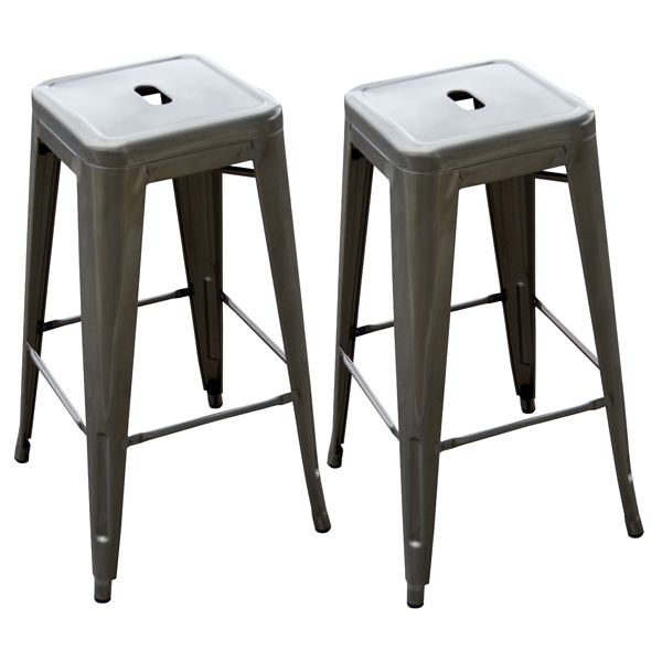 2 Piece Loft Metal Bar Stool, Silver