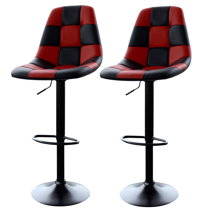 Red Checkered Racing Bar Chairs, Set of 2