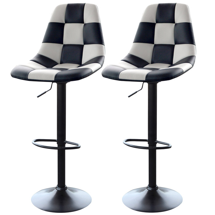 AmeriHome 2-Piece Racing Bar Chair Set, White And Black Patterned