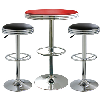 AmeriHome 3 Piece Soda Fountain Style Bar Set - Black/Red