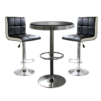 AmeriHome 3 Piece Contemporary Two Tone Bar Set