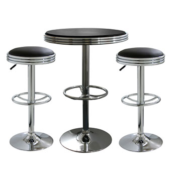 AmeriHome 3 Piece Soda Fountain Style Bar Set - Black