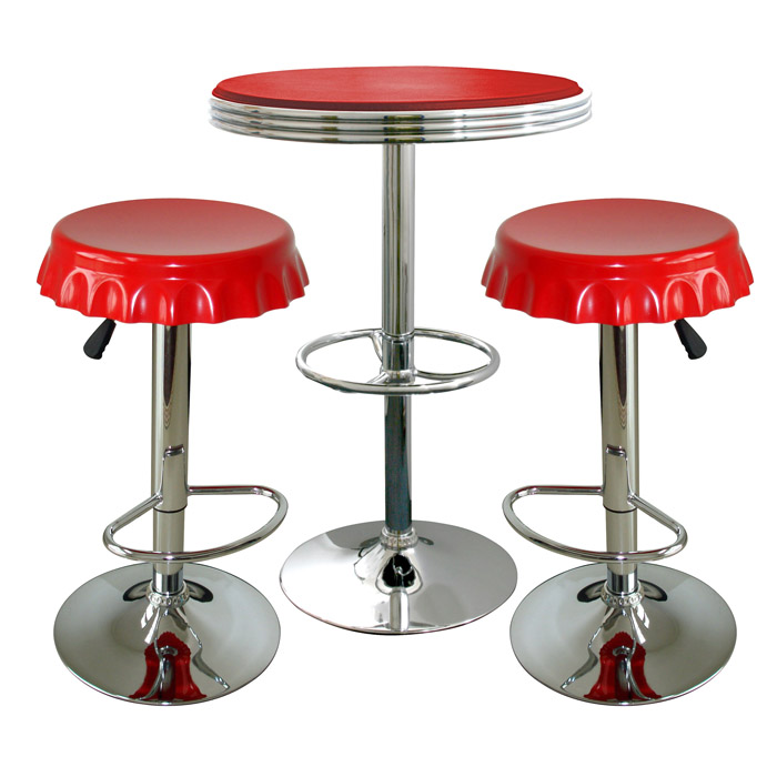 Retro Red Soda Cap Bistro Set - 3 Piece Set