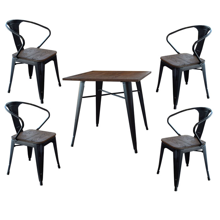 Loft Glossy Black Dining Set with Wood Tops - 5 Piece