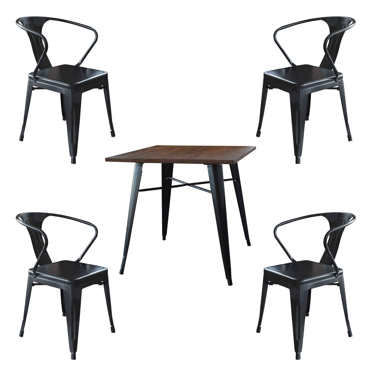 AmeriHome Loft Glossy Black Metal Dining Set - 5 Piece