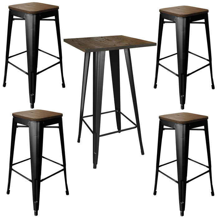 Loft Glossy Black Pub Set with Wood Tops - 5 Piece