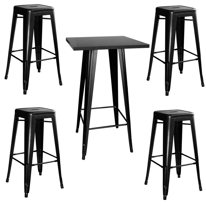 Loft Glossy Black Metal Pub Set - 5 Piece