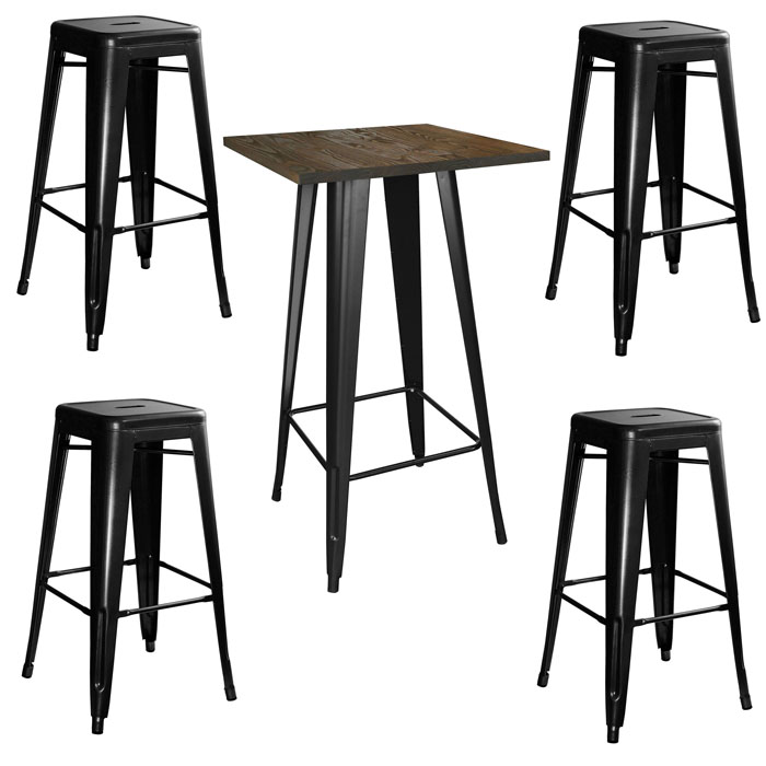 Loft Glossy Black Pub Set with Wood Top Table - 5 Piece