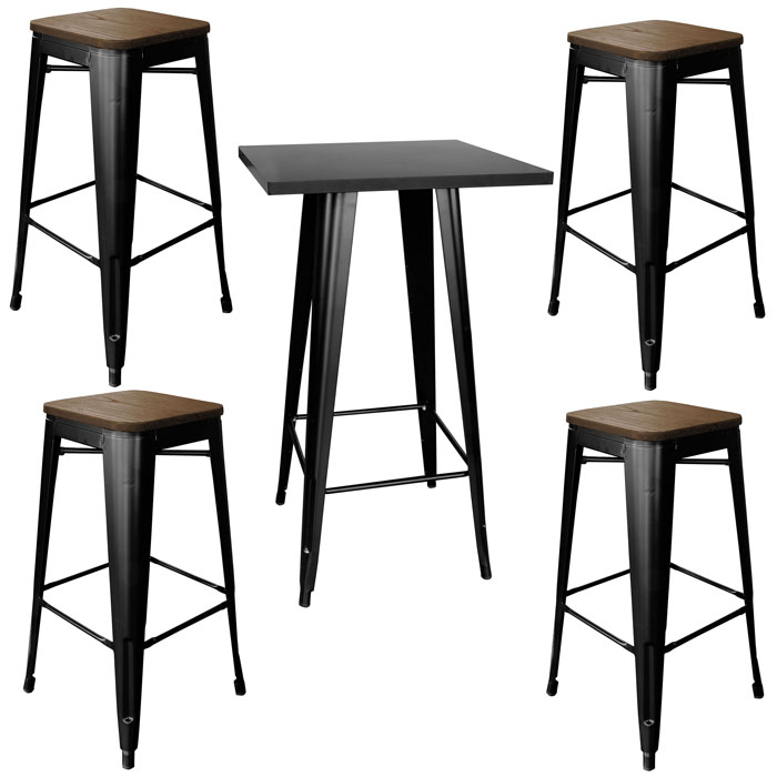 Loft Glossy Black Pub Set With Wood Top Bar Stools - 5 Piece