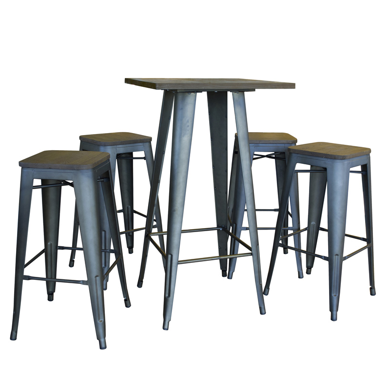 AmeriHome Loft Rustic Gunmetal Pub Set with Wood Tops - 5 Piece