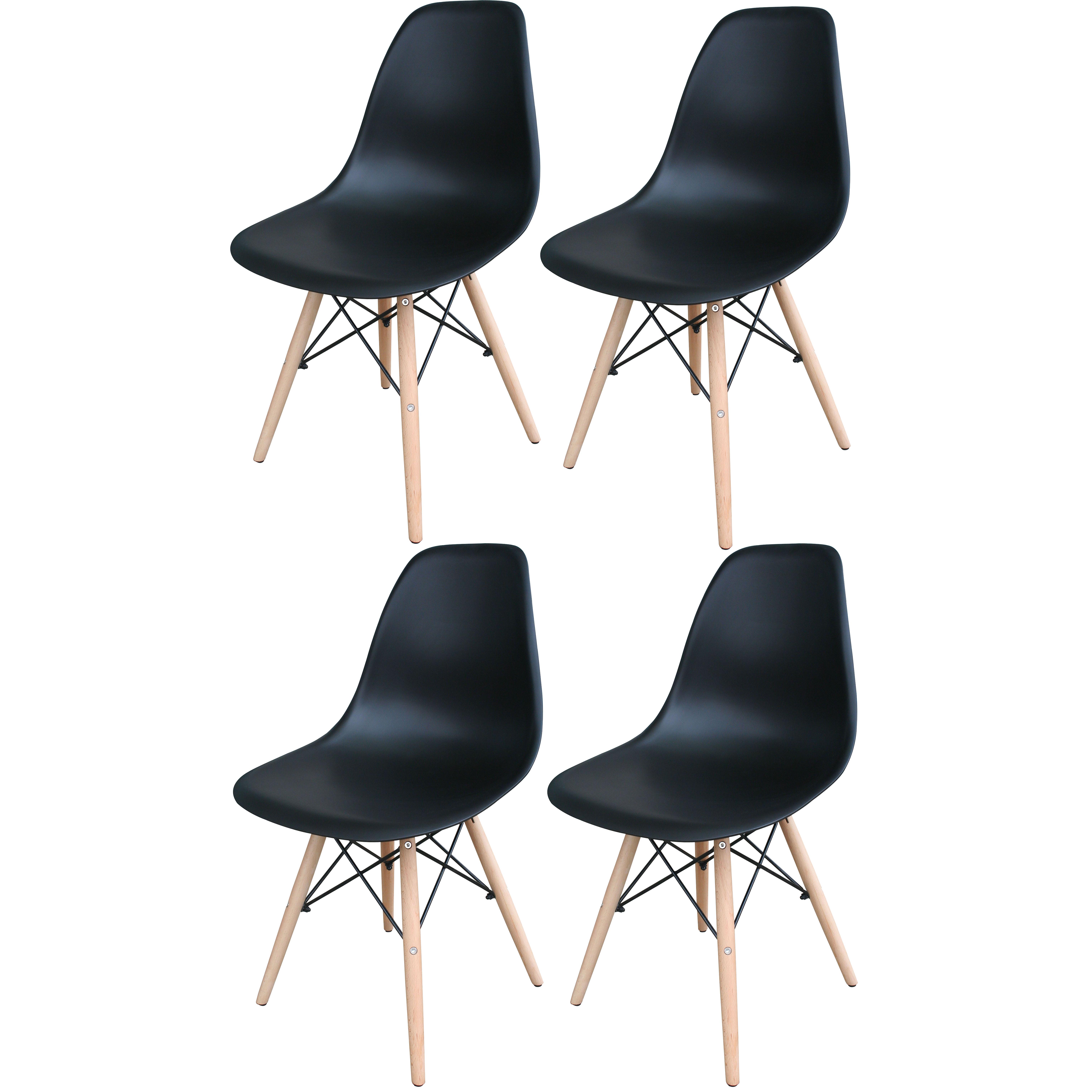 Black Wooden Leg Accent Chairs - 4 Piece Set