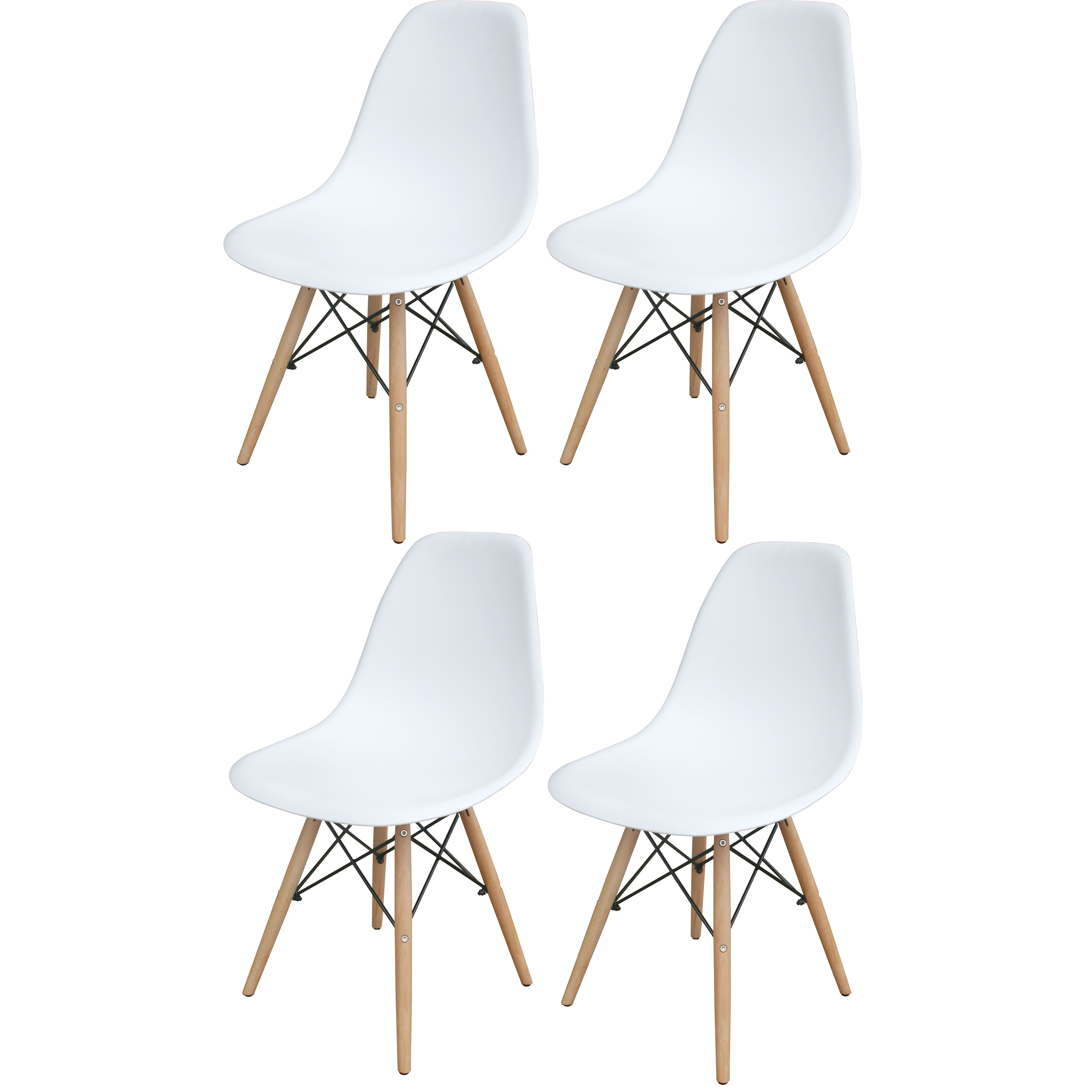 White Wooden Leg Accent Chairs - 4 Piece Set
