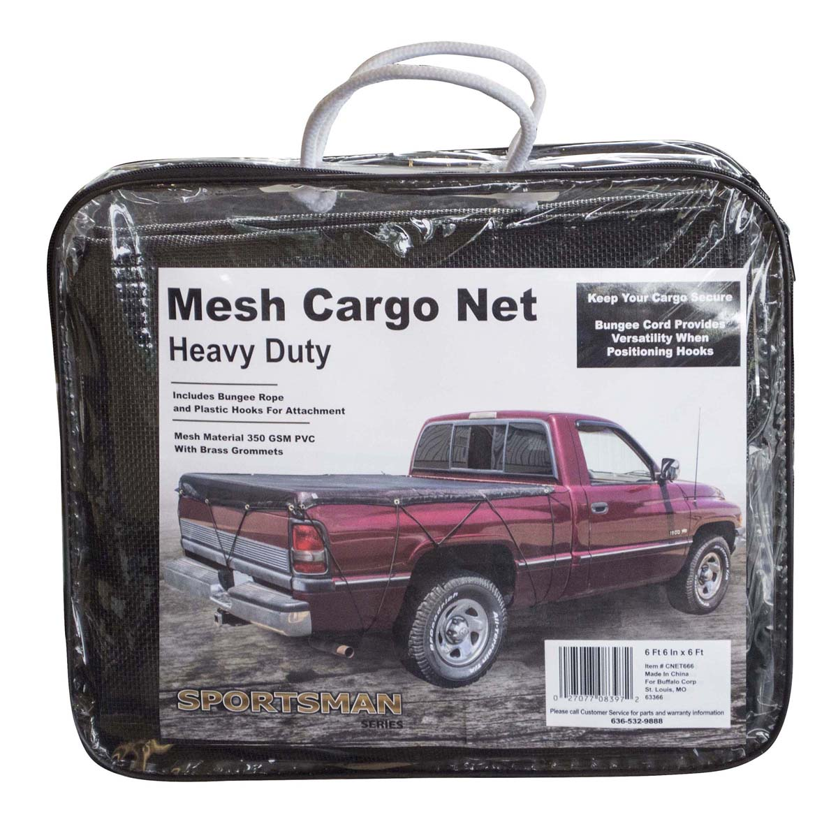Heavy Duty Mesh Truck Bed Cargo Net Cover 6 ft. 6 in. x 6 ft.