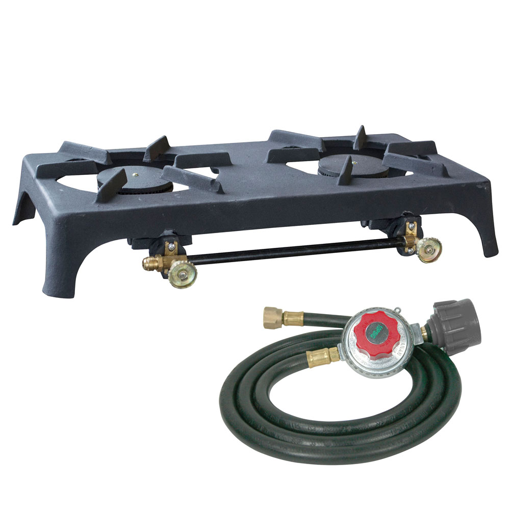 Sportsman Series Double Burner Cast Iron Stove with Regulator Hose