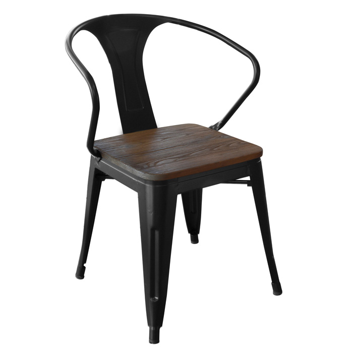 Loft Black Metal Dining Chair with Wood Seat- 4 Piece