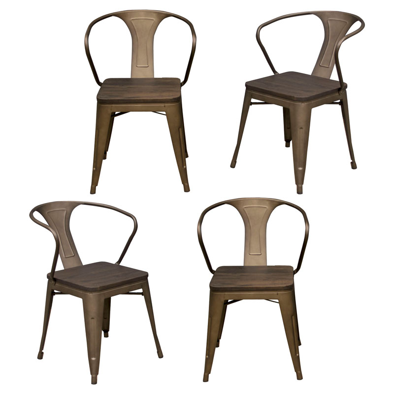 AmeriHome Loft Rustic Gunmetal Metal Dining Chair with Wood Seat- 4 Piece