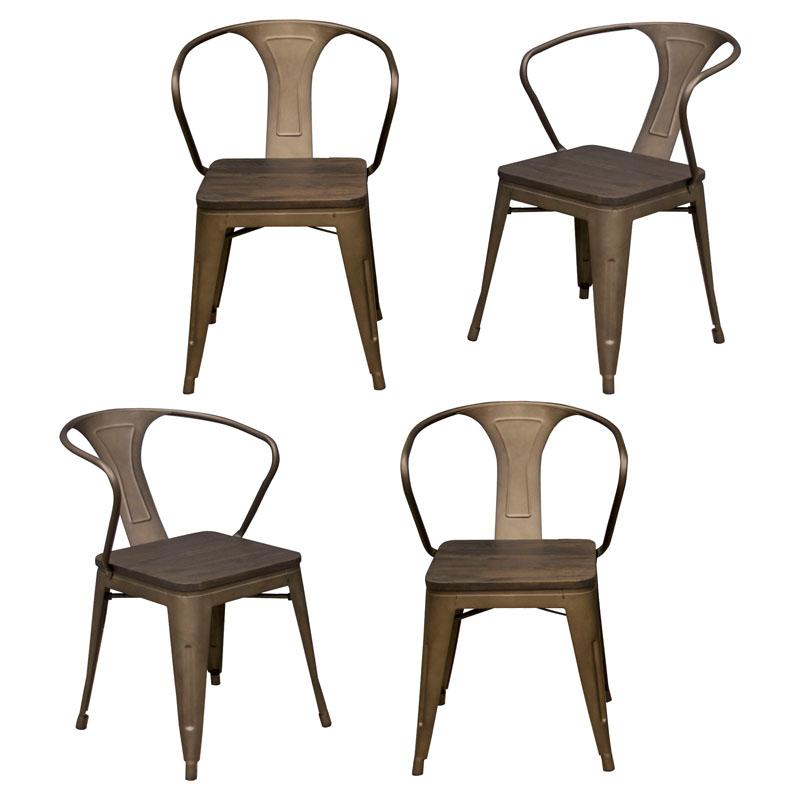 AmeriHome Loft Rustic Gunmetal Metal Dining Chair with Wood Seat- 4 Piece