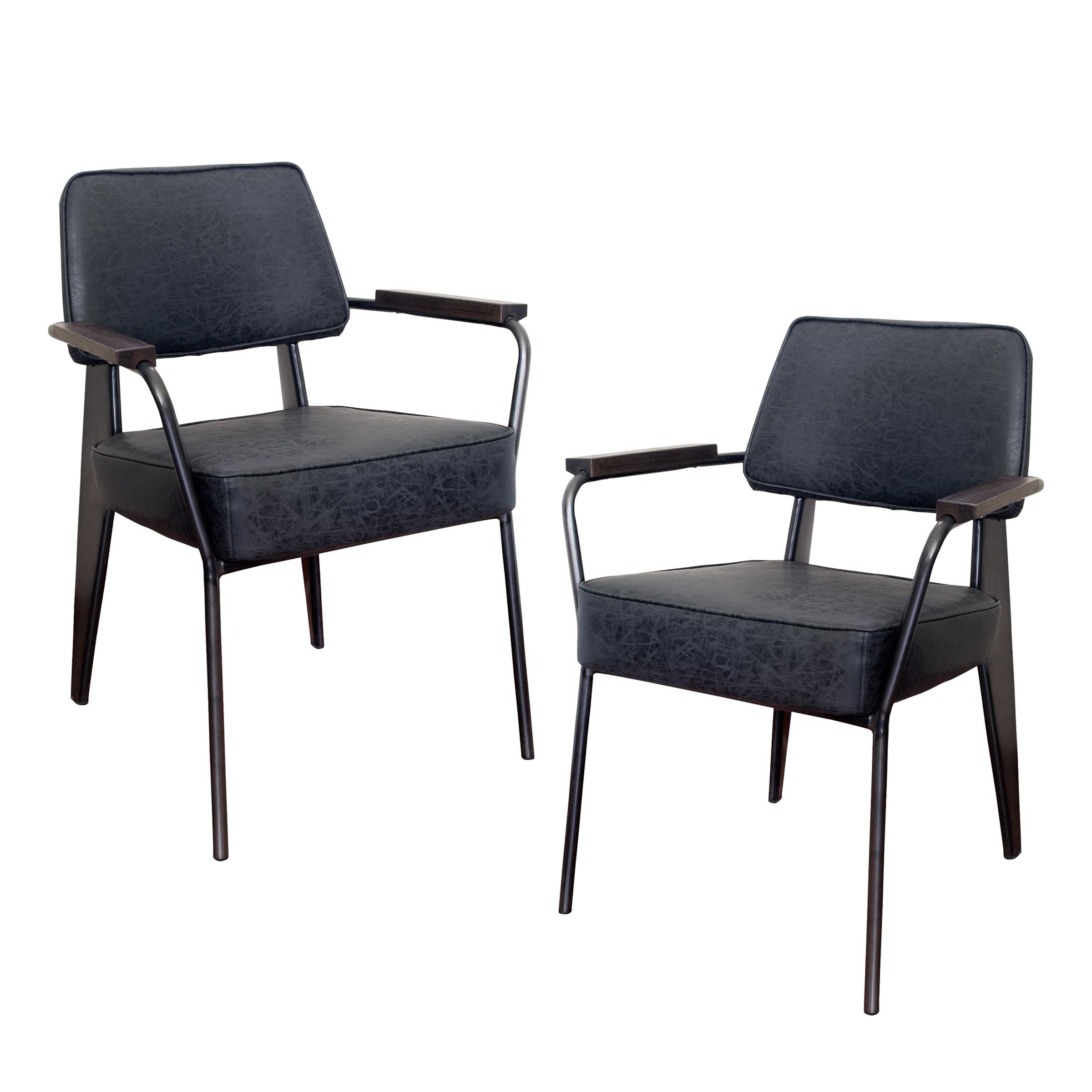 Fauteuil Direction Accent Chair - 2 Piece Set -  Black