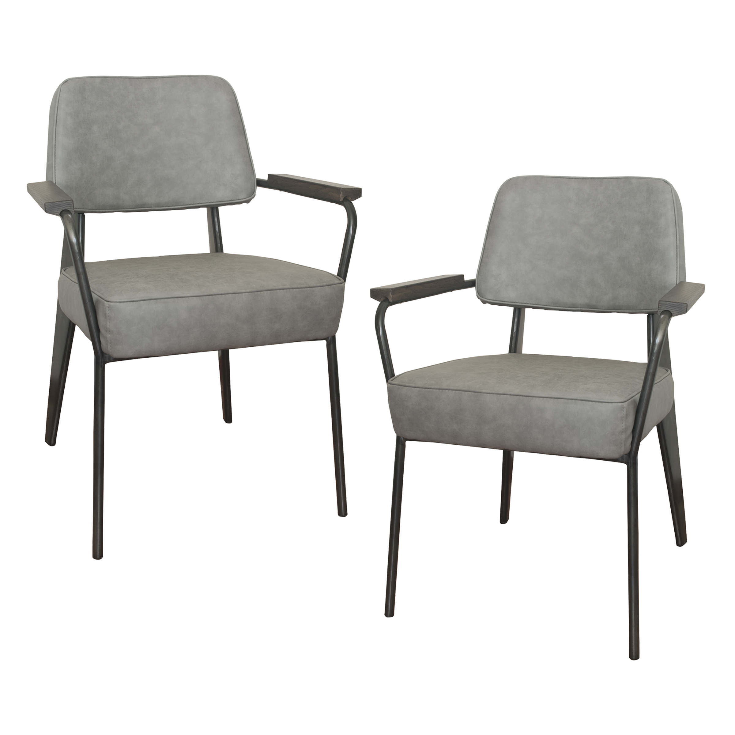 Fauteuil Direction Accent Chair - 2 Piece Set -  Gray