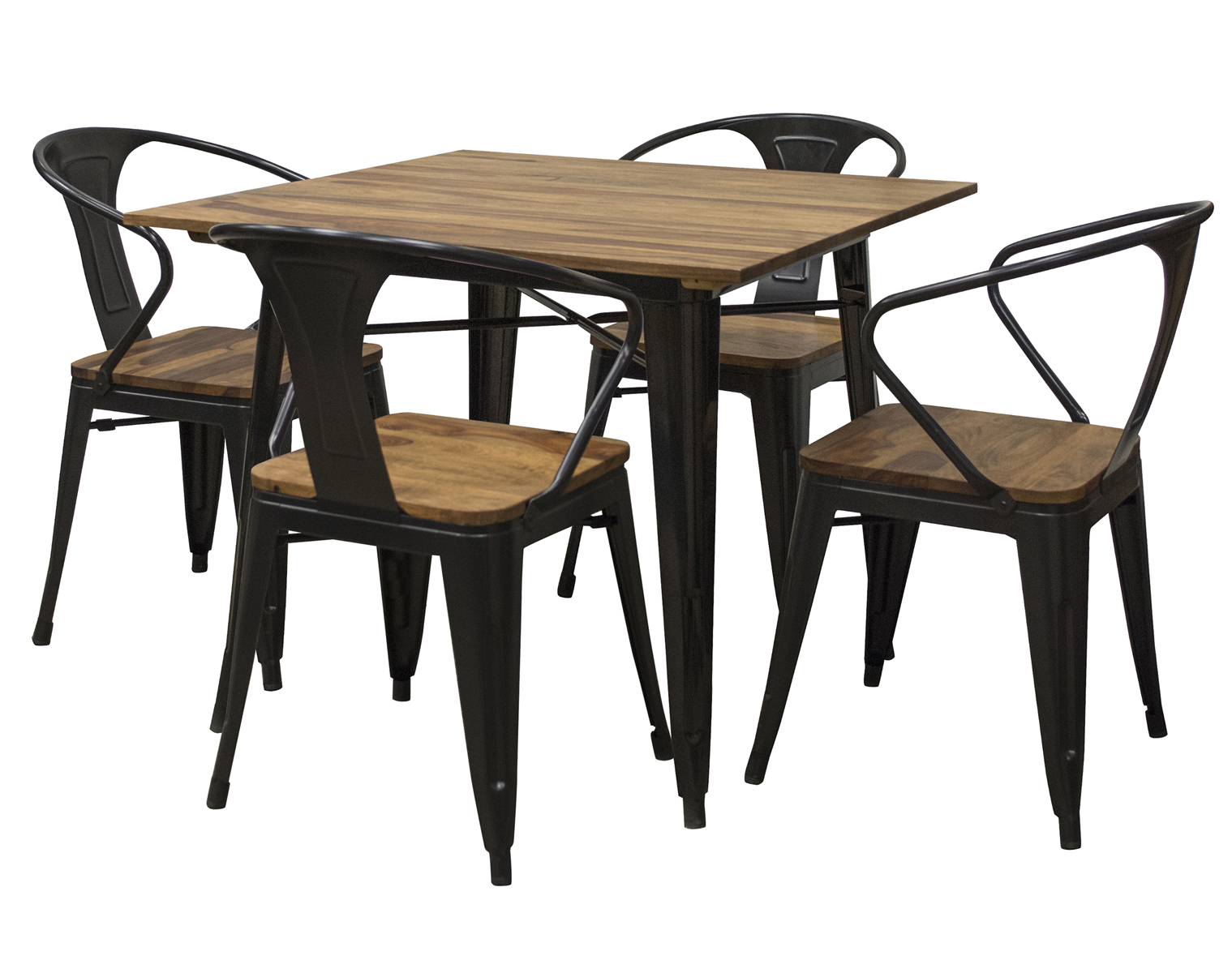 "5 Piece 36"" Dining Table Set with Rosewood Top and Metal Legs, Seats 4"