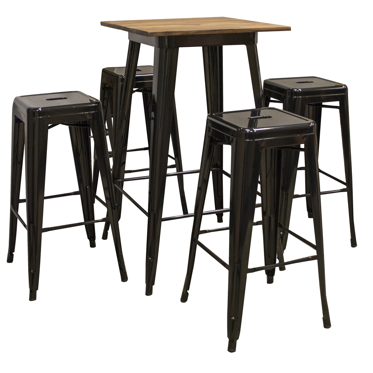 5 Piece Pub Table Set with Rosewood Top Table and Metal Bar Stools, Seats 4