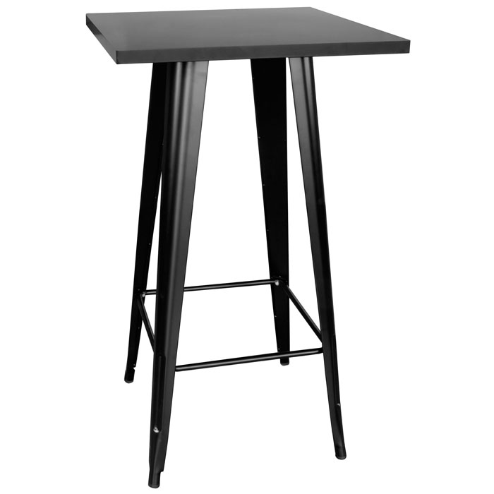 Loft Black Metal Pub Table with Metal Top