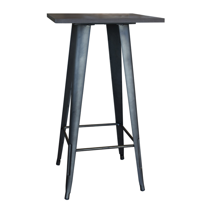 AmeriHome Loft Rustic Gunmetal Metal Pub Table with Wood Top