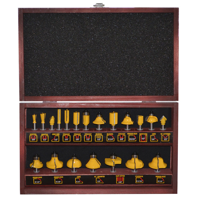 Pro-Series 20 Piece Router Bit Set in Wood Box