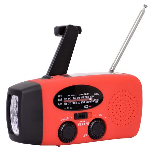 Rechargeable Weather Radio with Hand Crank and Solar Power