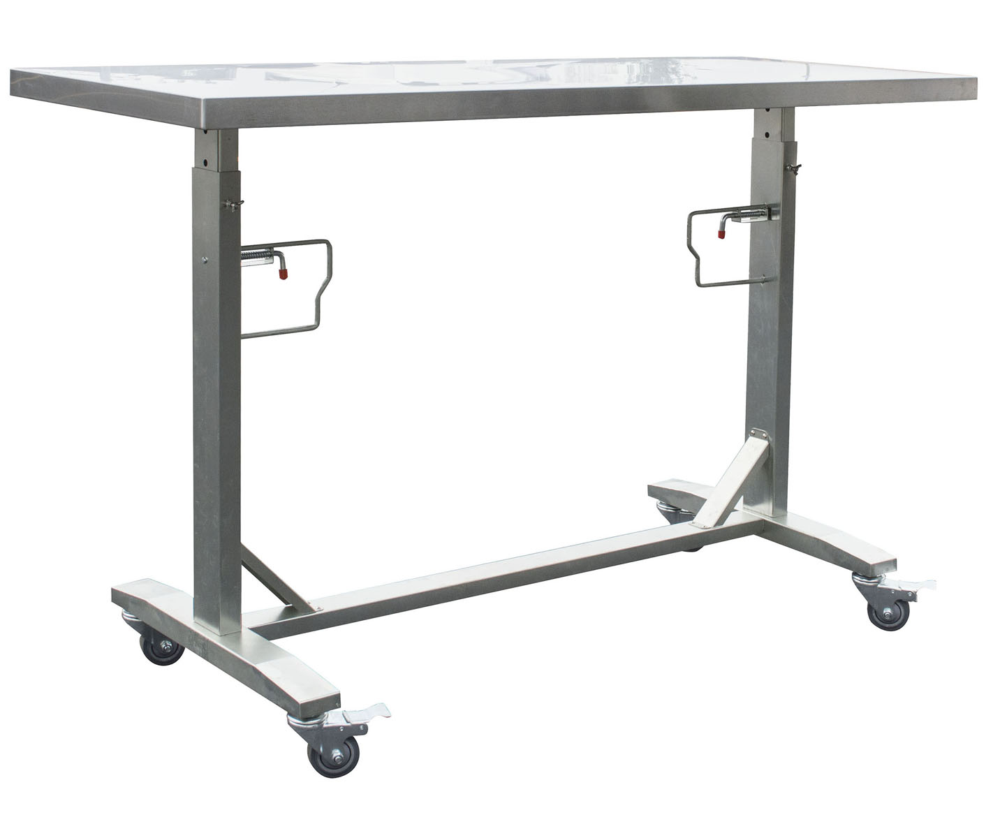 Stainless Steel Adjustable Height Work Table With Rolling Locking Casters