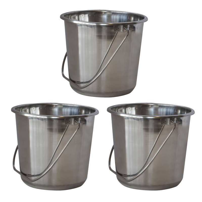 AmeriHome Small Stainless Steel Bucket Set - 3 Piece