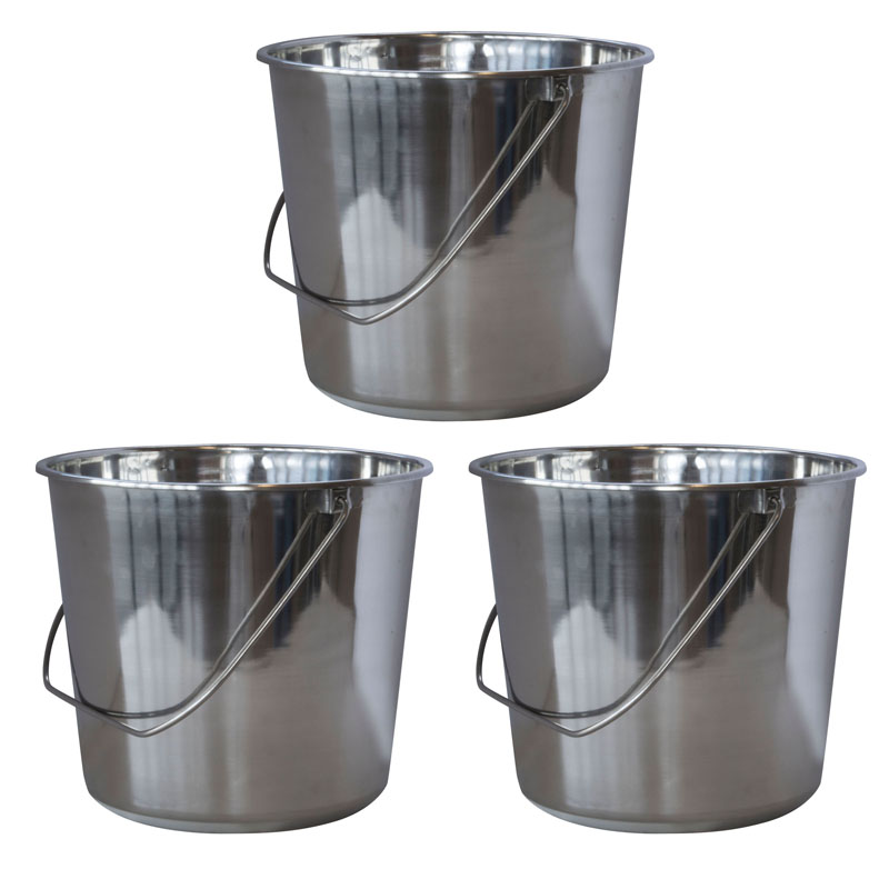 AmeriHome Medium Stainless Steel Bucket Set - 3 Piece