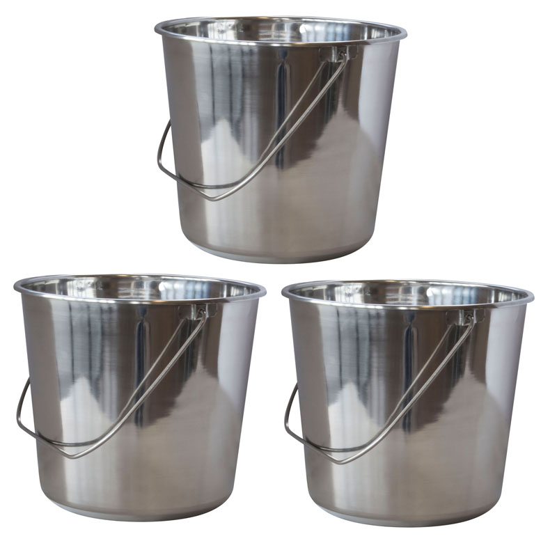 AmeriHome Large Stainless Steel Bucket Set - 3 Piece