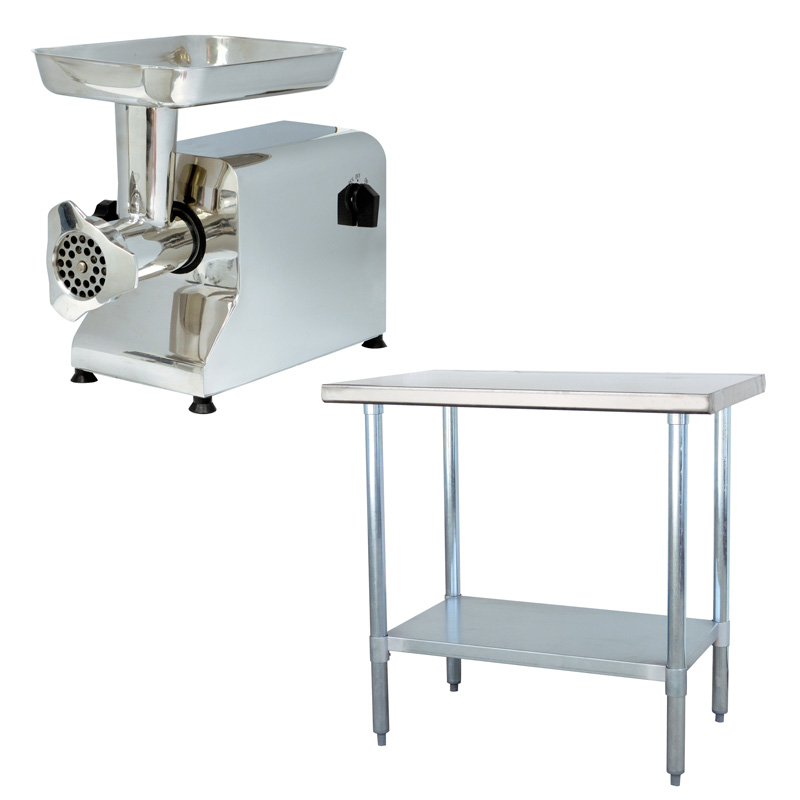 Stainless Steel Meat Grinder and Work Table Set